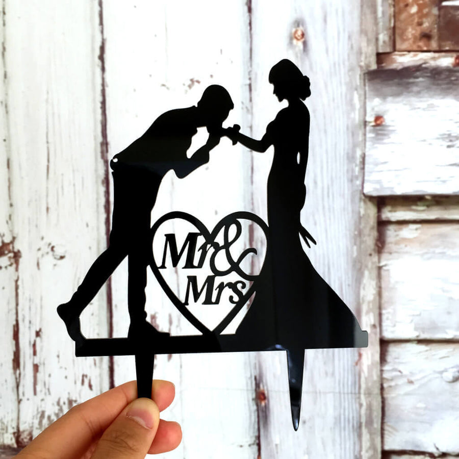 Silhouette Groom Kissing Bride's Hand Mr. and Mrs. Wedding Cake Topper