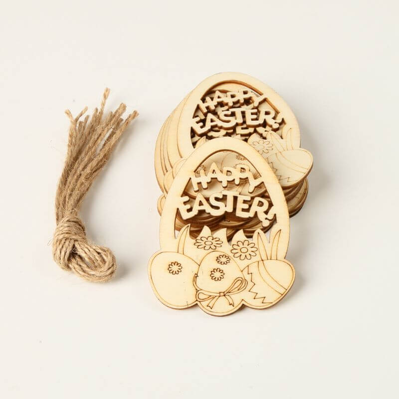 Online Party Supplies Australia Laser Cut Wooden Happy Easter Egg Hanging Decorations 10 Pack