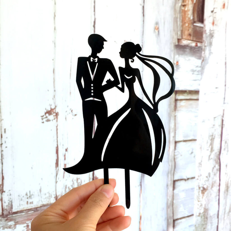 Silhouette Bride and Groom Arm in Arm Wedding Cake Topper
