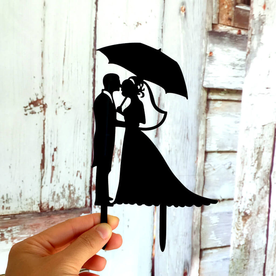 Silhouette Bride and Groom Under Umbrella Wedding Cake Topper
