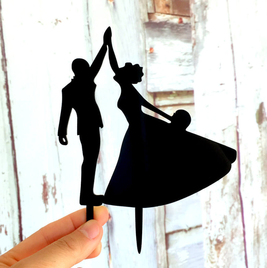 Silhouette Bride and Groom First Dance Wedding Cake Topper