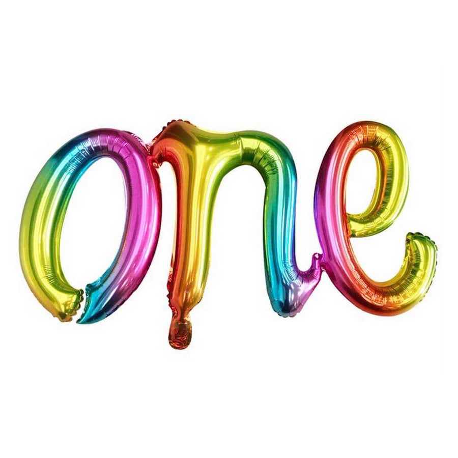 Rainbow Iridescent 'one' Script First Birthday Party Foil Balloon