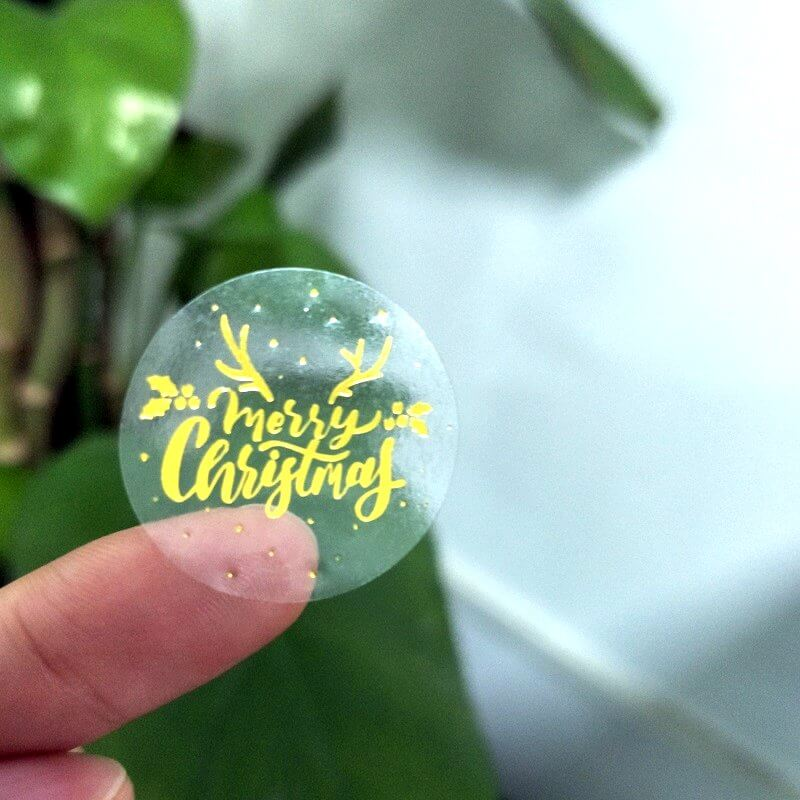 Round Gold Foil Clear Merry Christmas Stickers - Christmas Gift Packing and Wrapping Supplies