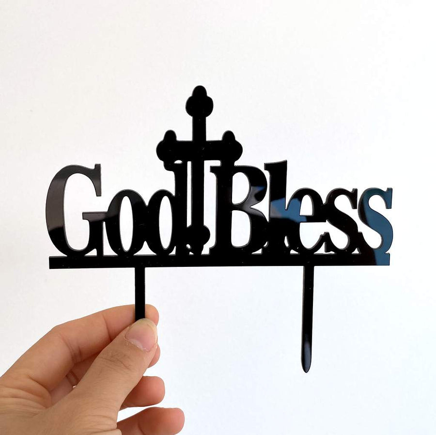 Acrylic Black God Blessed Cross Cake Topper - Christening / Baptism / Baby Shower Cake Decorations
