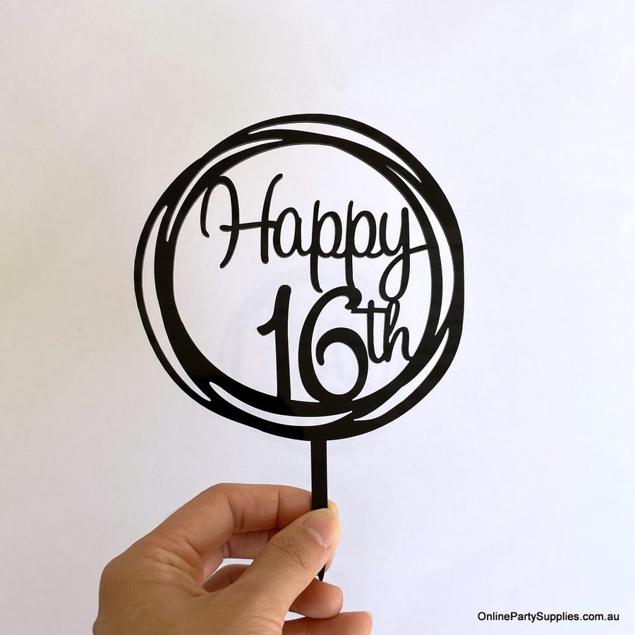 Acrylic Black Geometric Circle Happy 16th Cake Topper