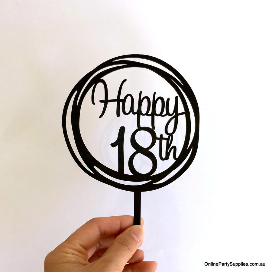Online Party Supplies Australia Acrylic Black Mirror Geometric Circle Happy 18th Cake Topper