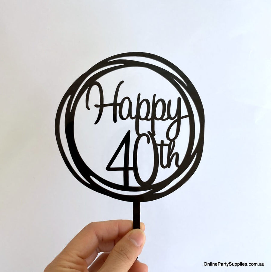 Online Party Supplies Australia Acrylic Black Mirror Geometric Circle Happy 40th Cake Topper