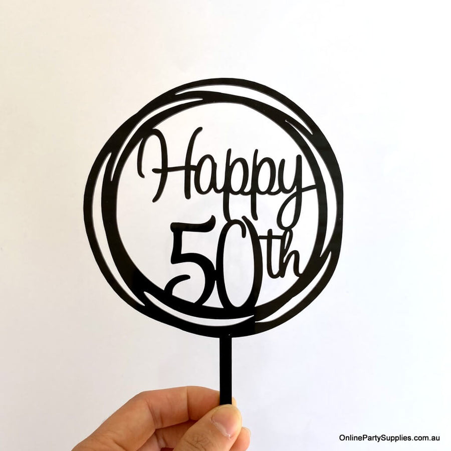 Online Party Supplies Australia Acrylic Black Mirror Geometric Circle Happy 50th Cake Topper
