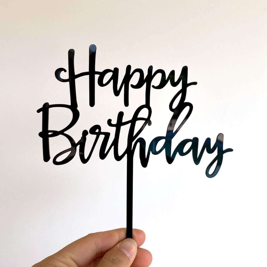 Black Acrylic Happy Birthday Cake Topper
