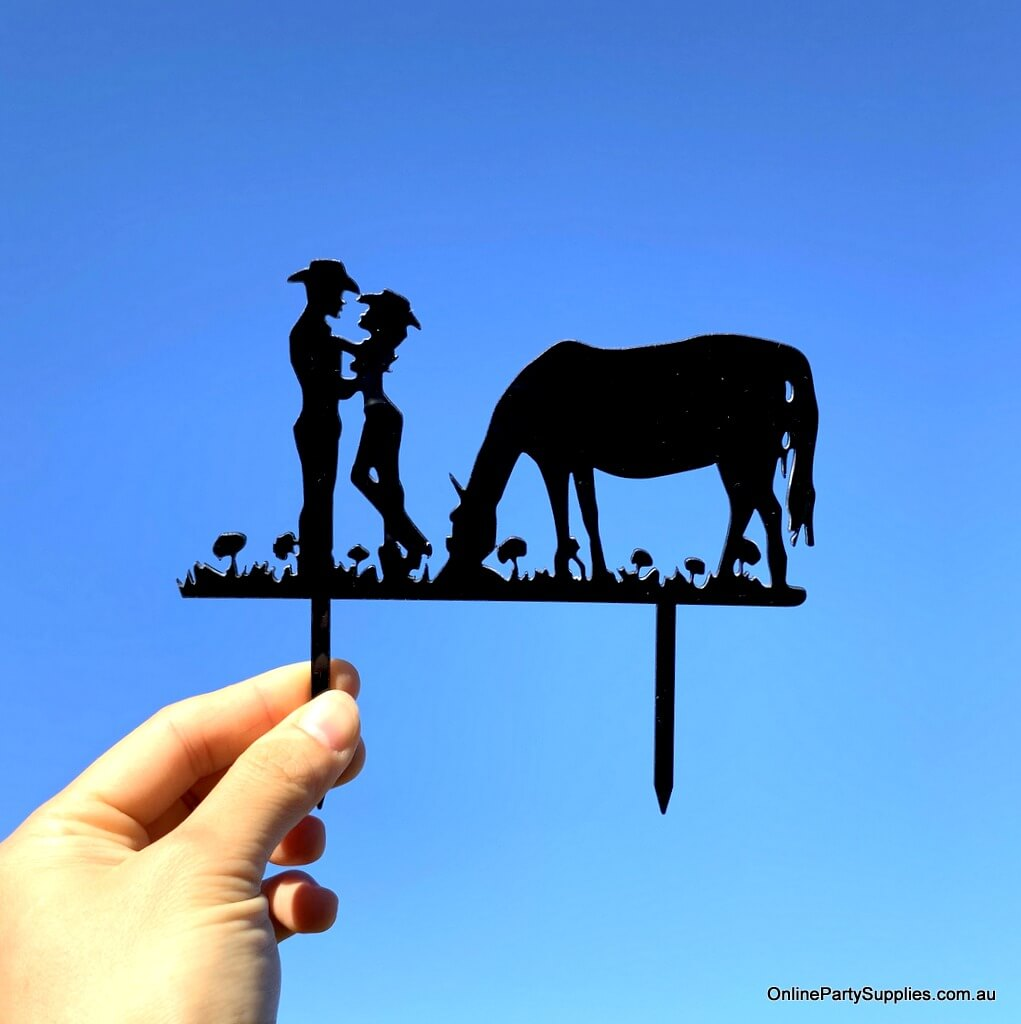 Acrylic Silhouette Cowboy Cowgirl Horse Cake Topper Online Party Supplies
