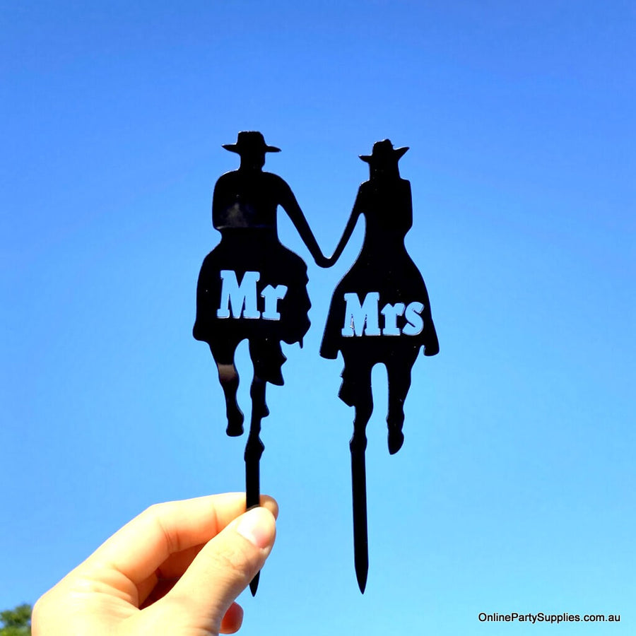 Black Acrylic Mr & Mrs Cowboy Cowgirl Holding Hand Horse Riding Cake Topper - Country Western Wedding Cake Decorations