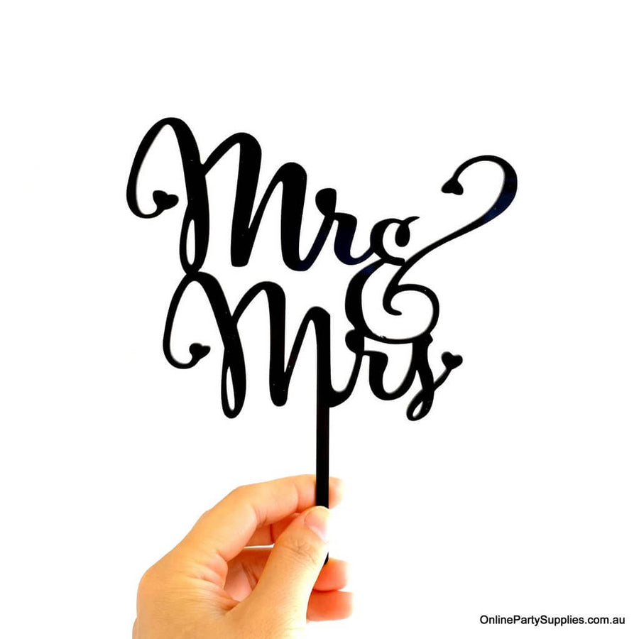 Acrylic Black 'Mr and Mrs' Wedding Engagement Bridal Shower Cake Topper