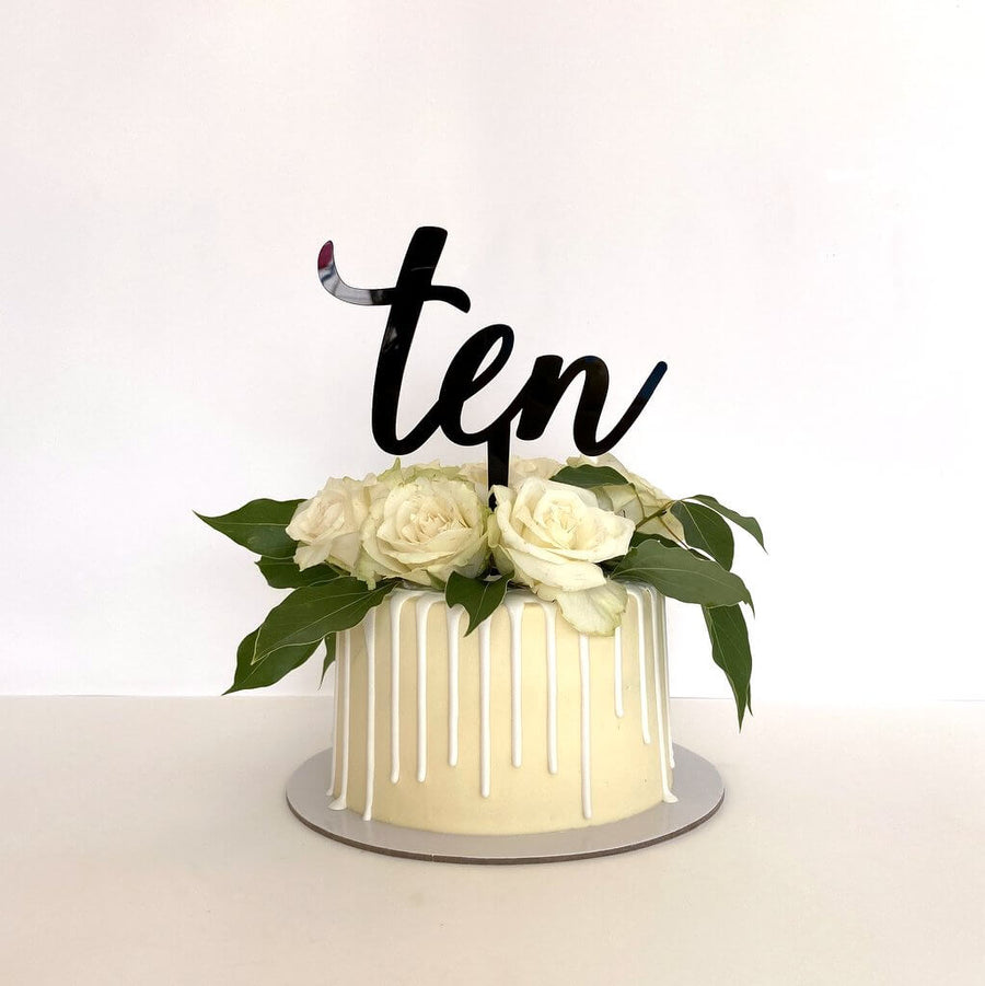 Acrylic Black 'Ten' Cake Topper