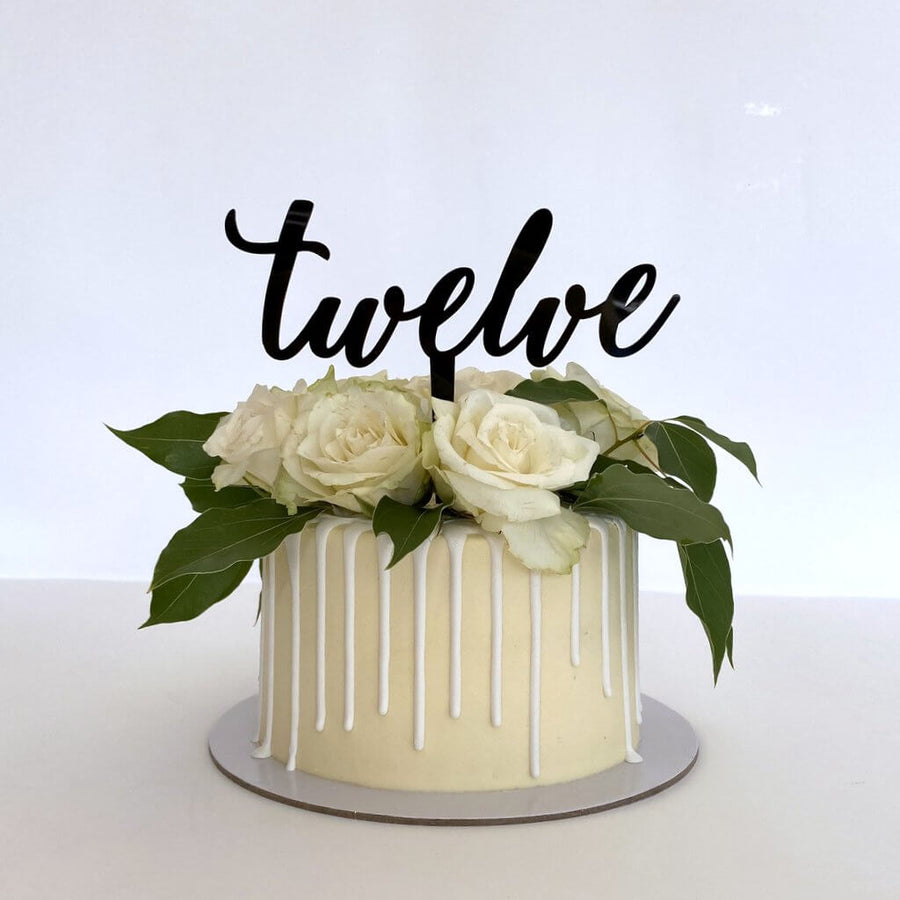 Acrylic Black 'Twelve' Cake Topper