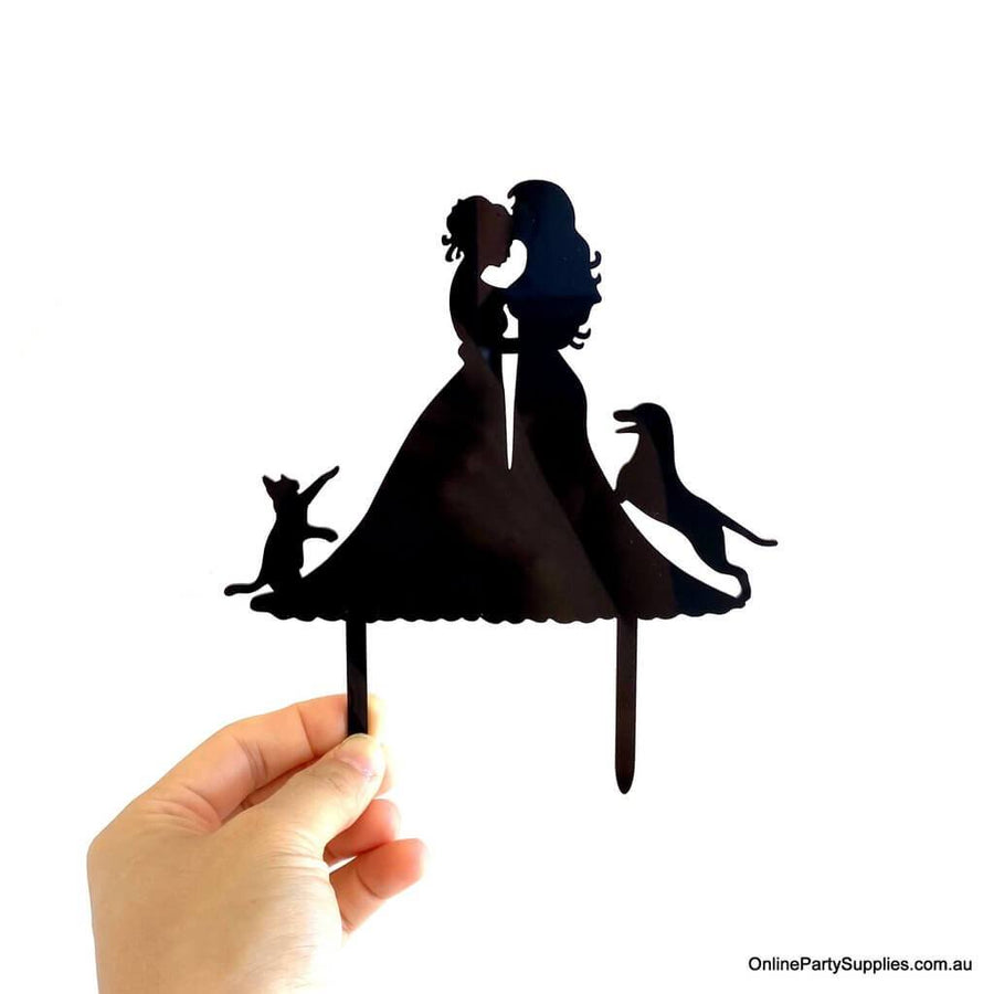 Online Party Supplies Australia Black Silhouette Two Brides Hugging Kissing with Cat Dog Wedding Cake Topper