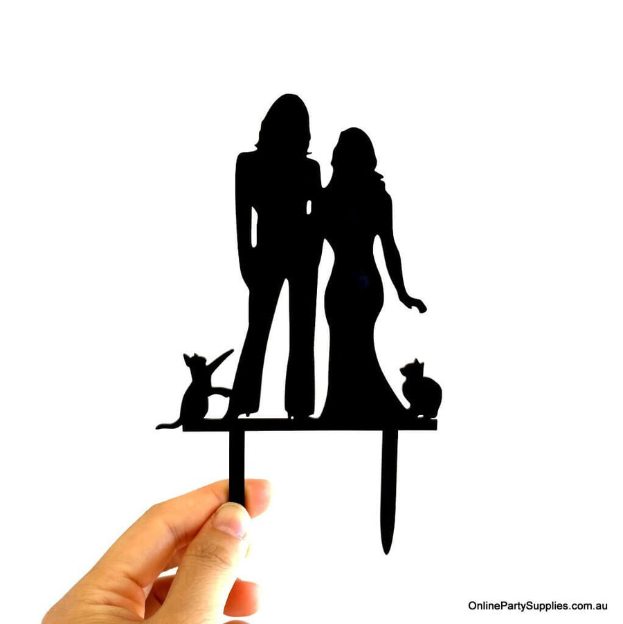 Online Party Supplies Australia Black Silhouette Two Brides Hugging Kissing with Two Cats Wedding Cake Topper