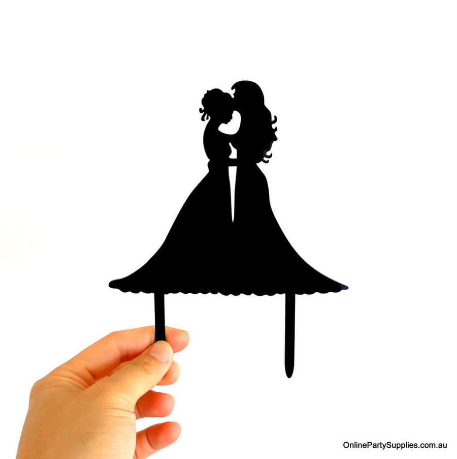 Acrylic Silhouette Two Brides Kissing Hugging Wedding Cake Topper
