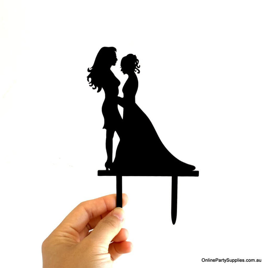 Online Party Supplies Australia Black Silhouette Two Brides Hugging Wedding Cake Topper