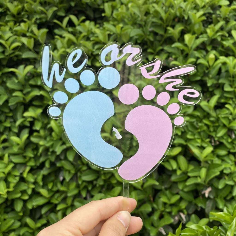 Acrylic Pink & Blue He or She Feet Cake Topper - Laser Cut Baby Shower Cake Decorations