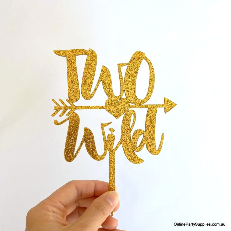 Online Party Supplies Australia gold glitter two wild with an arrow birthday cake topper