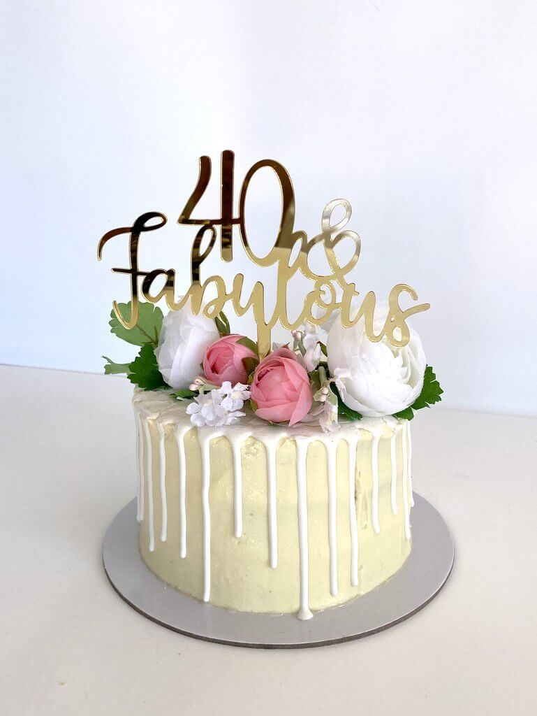 Acrylic Gold Mirror 40 & Fabulous Cake Topper