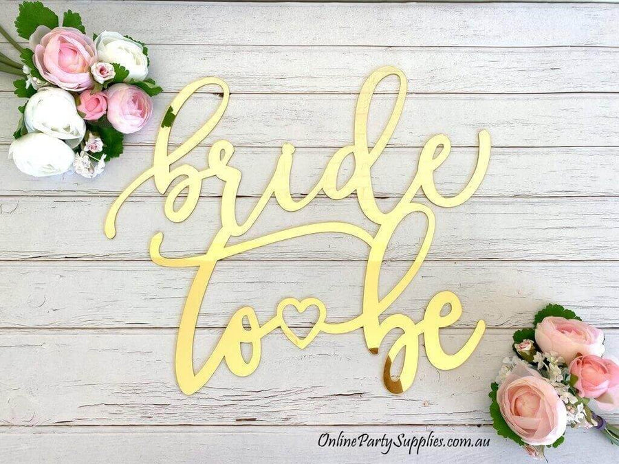 Acrylic Gold Mirror Bride To Be Heart Bridal Shower Wall Sign 40cm x 40cm