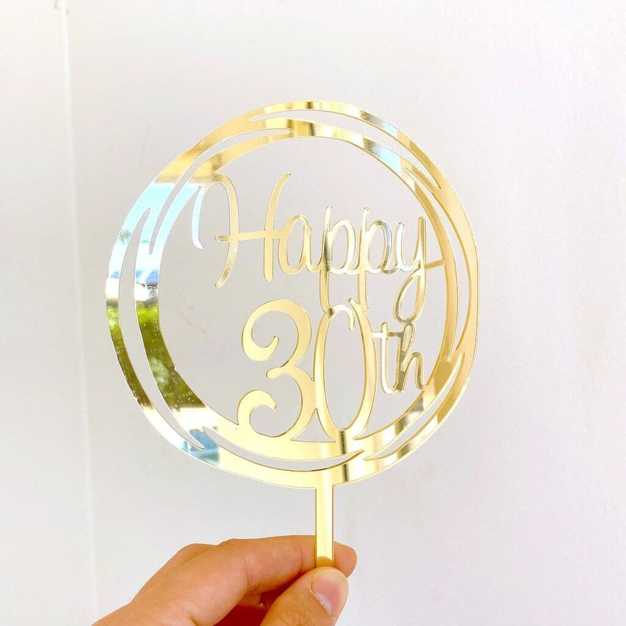 Acrylic Gold Mirror Geometric Circle Happy 30th Cake Topper