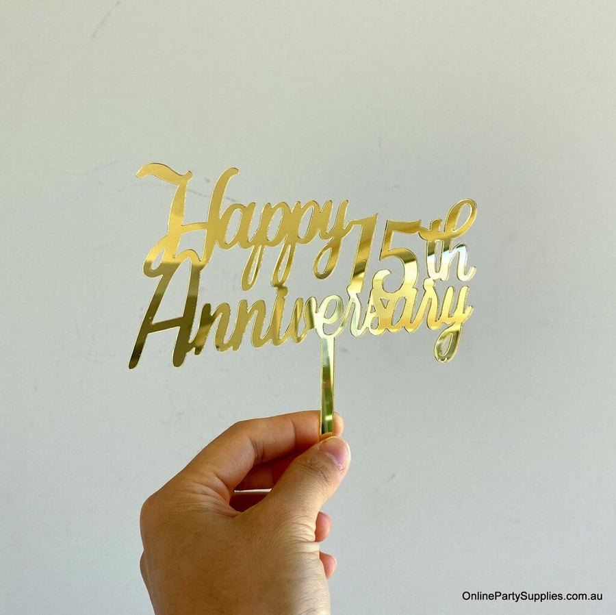 Online Party Supplies Australia Gold Mirror Acrylic 'Happy 15th Anniversary' Wedding Cake Topper