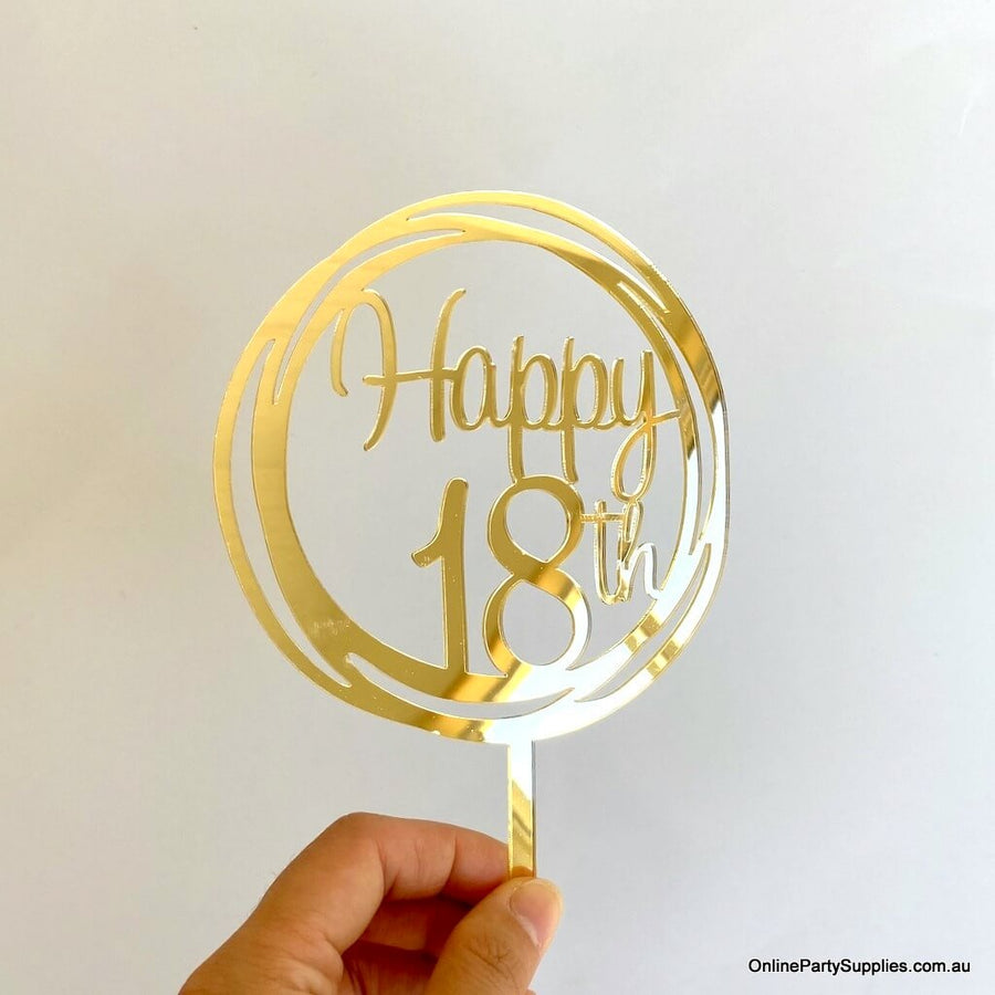 Online Party Supplies Australia Acrylic Gold Mirror Geometric Circle Happy 18th Cake Topper