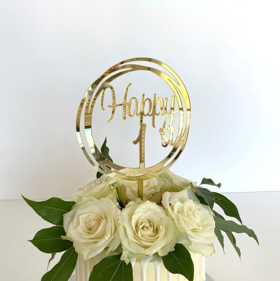 Acrylic Gold Mirror Happy 1st Birthday Geometric Circle Cake Topper