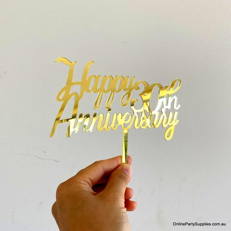 Online Party Supplies Australia Gold Mirror Acrylic 'Happy 30th Anniversary' Cake Topper