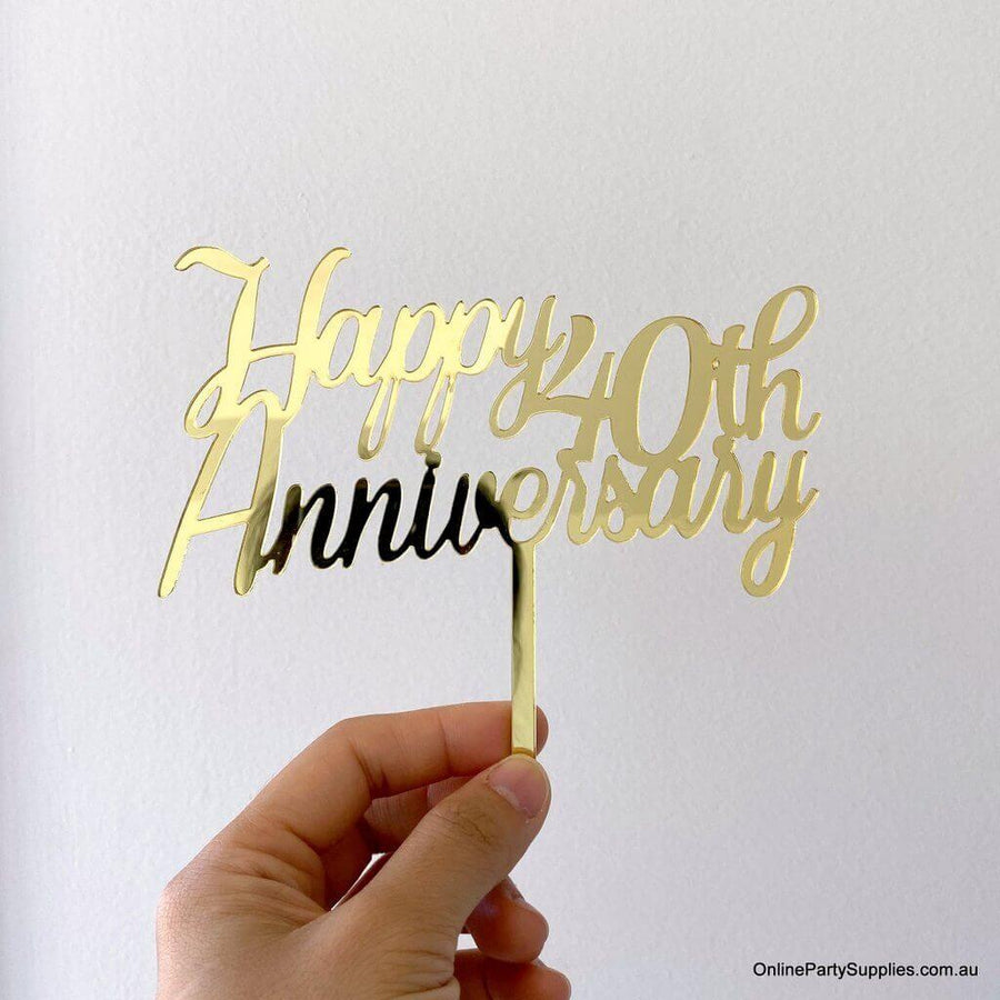 Online Party Supplies Australia Gold Mirror Acrylic 'Happy 40th Anniversary' Cake Topper
