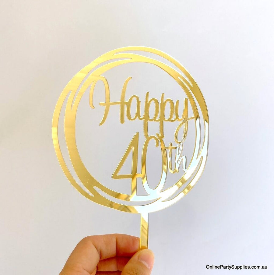 Acrylic Gold Mirror Geometric Circle Happy 40th Cake Topper