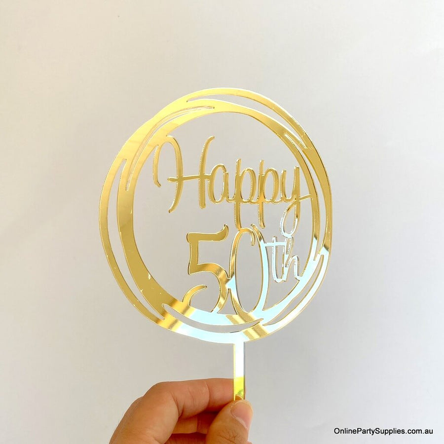 Online Party Supplies Australia gold mirror geometric circle Happy 50th birthday cake topper