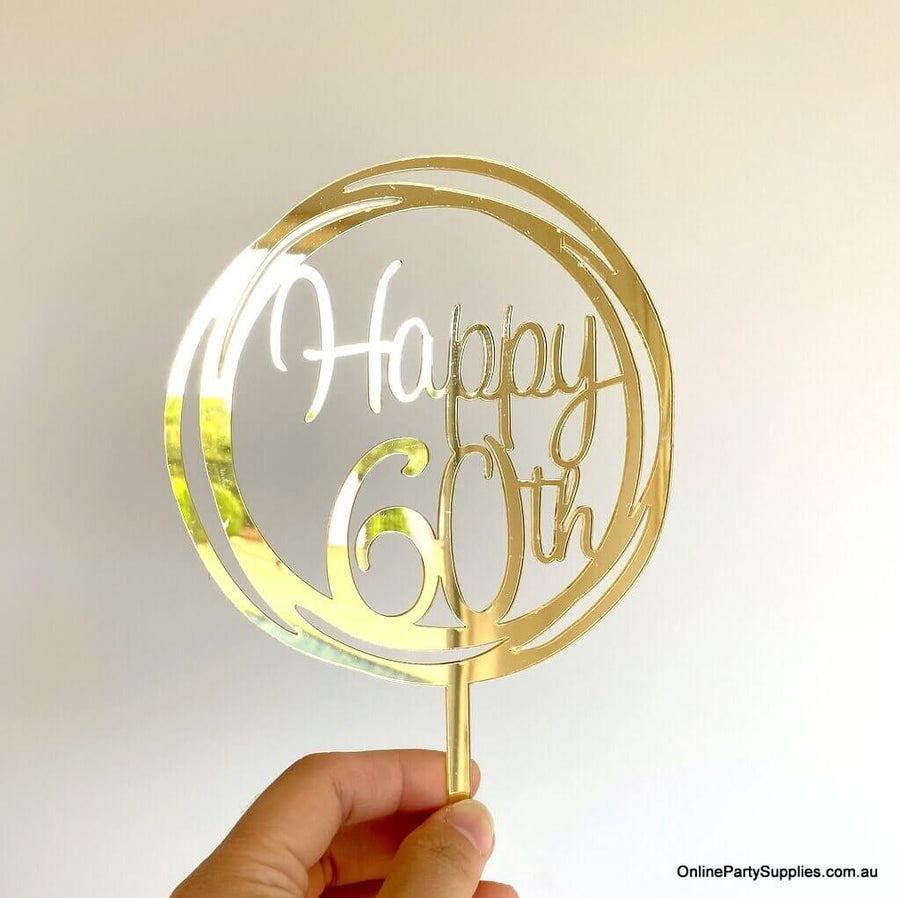 Acrylic Gold Mirror Geometric Round Happy 60th Cake Topper