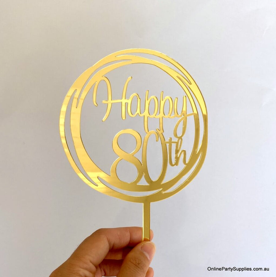 Acrylic Rose Gold Mirror Geometric Circle Happy 80th Cake Topper