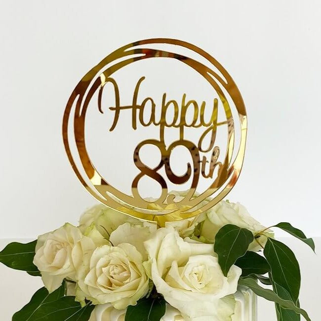 Acrylic Gold Mirror Happy 89th Birthday Geometric Circle Cake Topper