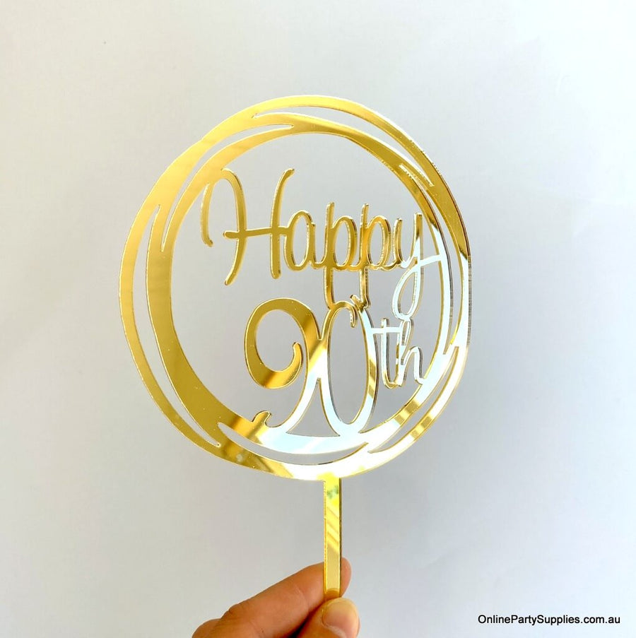 Online Party Supplies Australia Acrylic gold mirror geometric round Happy 90th  birthday wedding Cake Topper