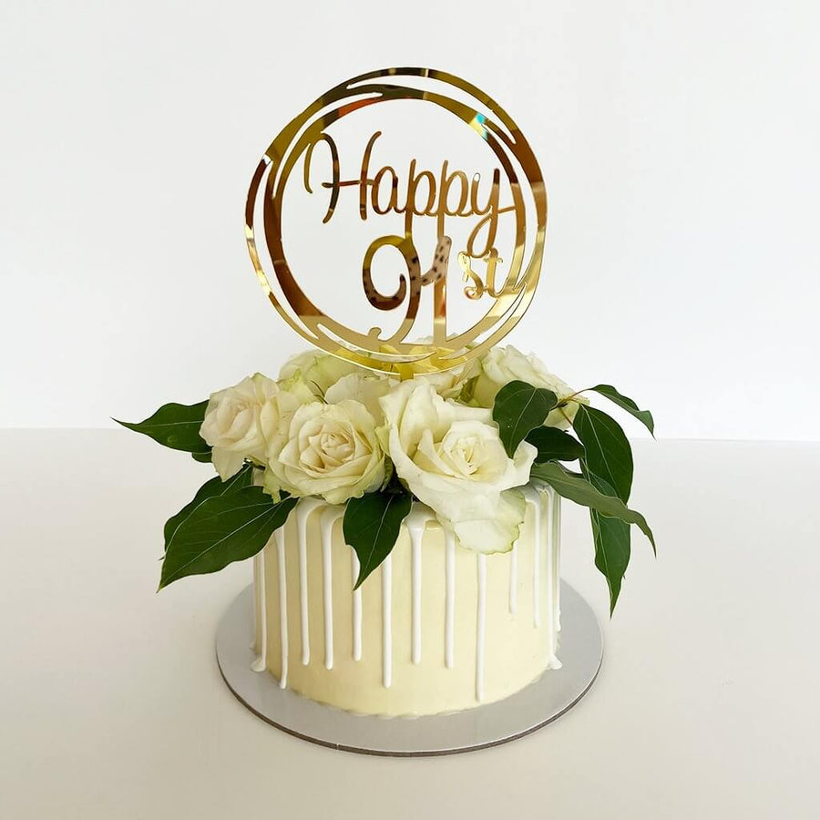 Acrylic Gold Mirror Happy 91st Birthday Geometric Circle Cake Topper