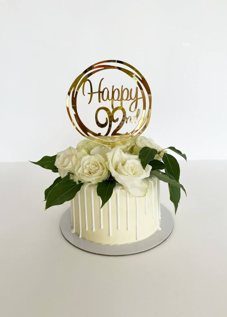 Acrylic Gold Mirror Happy 92nd Birthday Geometric Circle Cake Topper