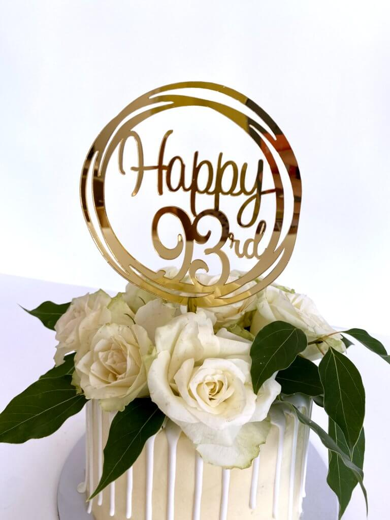 Acrylic Gold Mirror Happy 93rd Birthday Geometric Circle Cake Topper