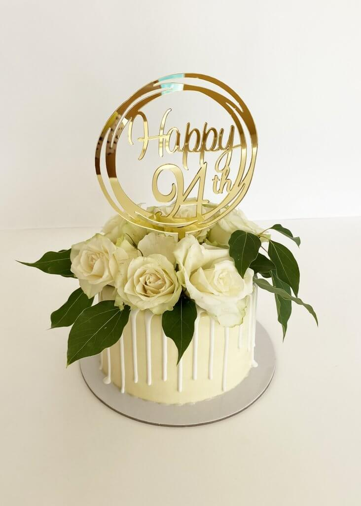 Acrylic Gold Mirror Happy 94th Birthday Geometric Circle Cake Topper