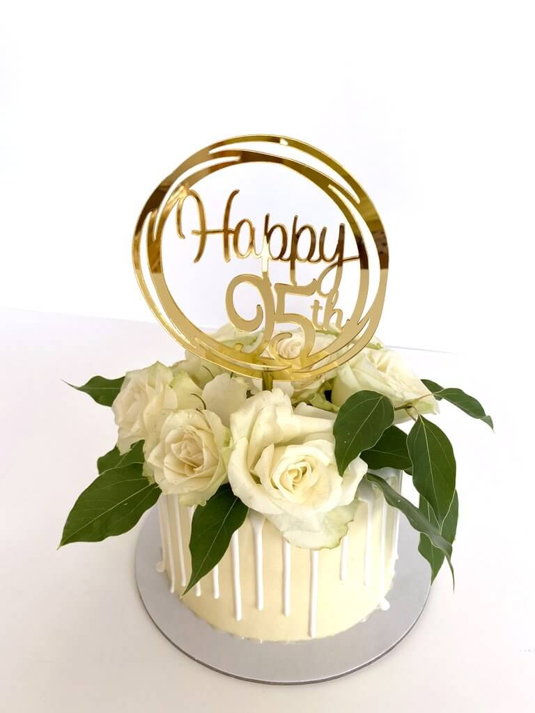 Acrylic Gold Mirror Happy 95th Birthday Geometric Circle Cake Topper