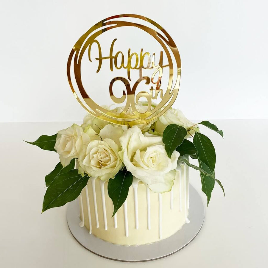 Acrylic Gold Mirror Happy 96th Birthday Geometric Circle Cake Topper