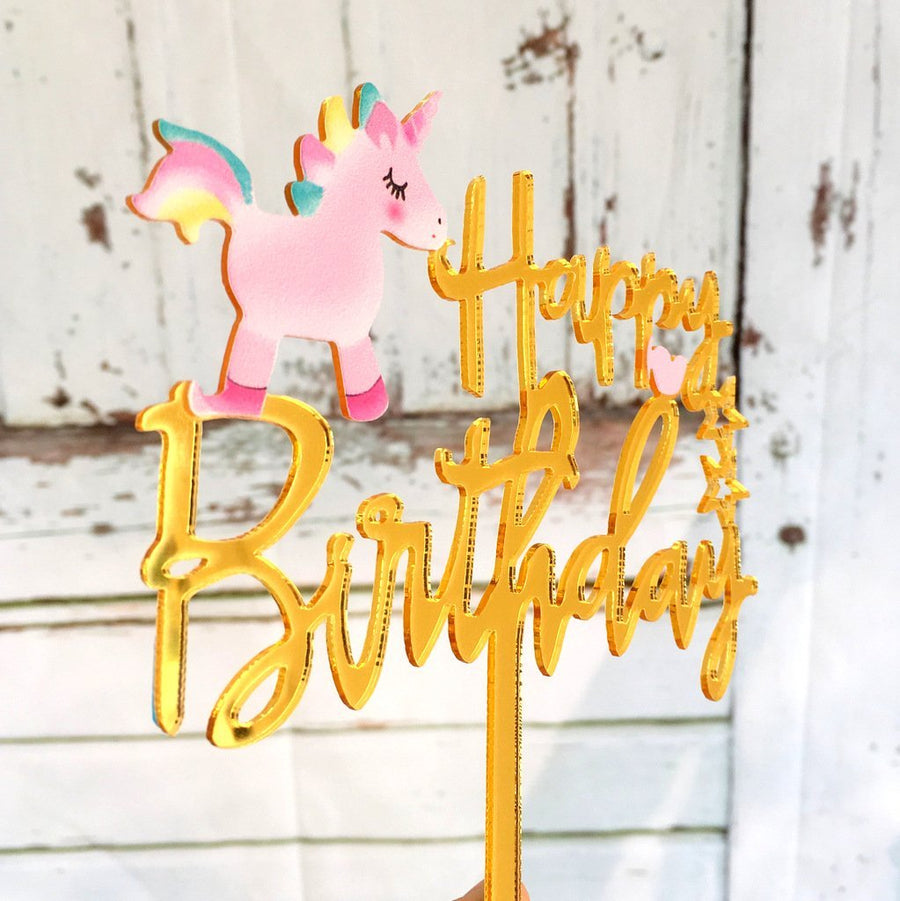 Acrylic Gold Mirror Happy Birthday Baby Unicorn Cake Topper - Online Party Supplies