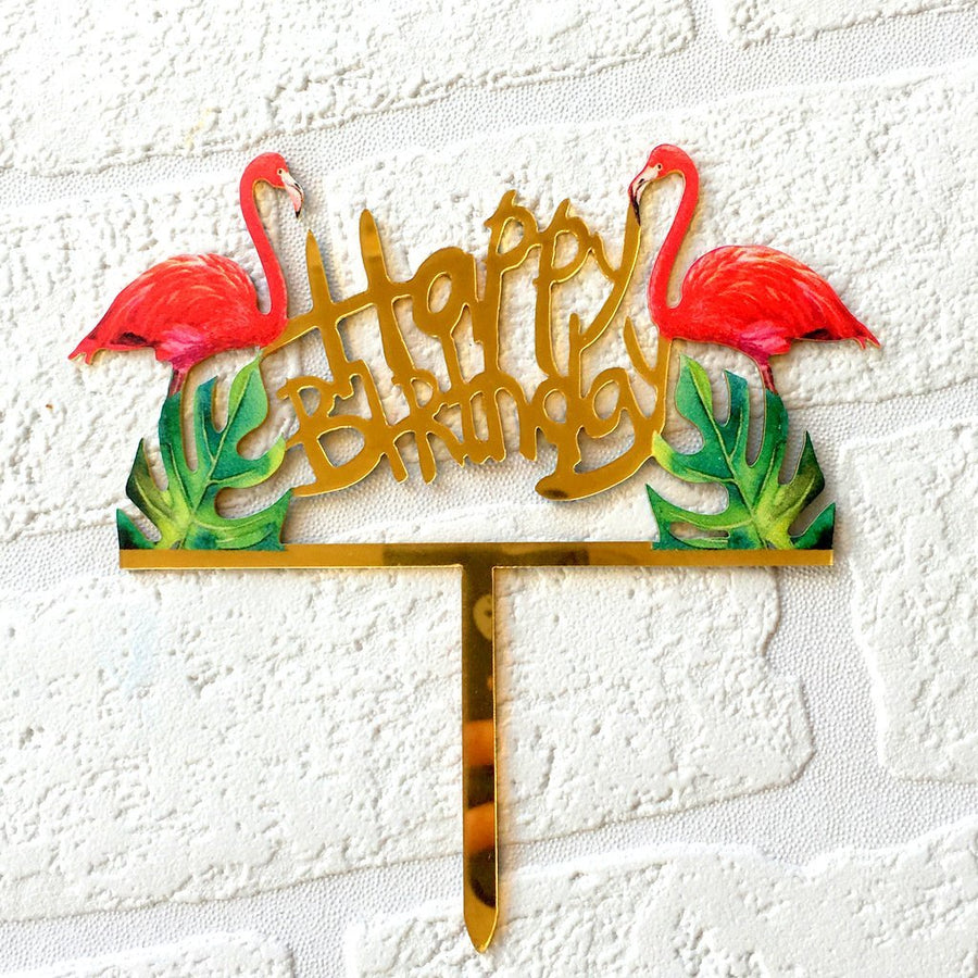 Acrylic Gold Mirror Happy Birthday Flamingo Cake Topper - Online Party Supplies