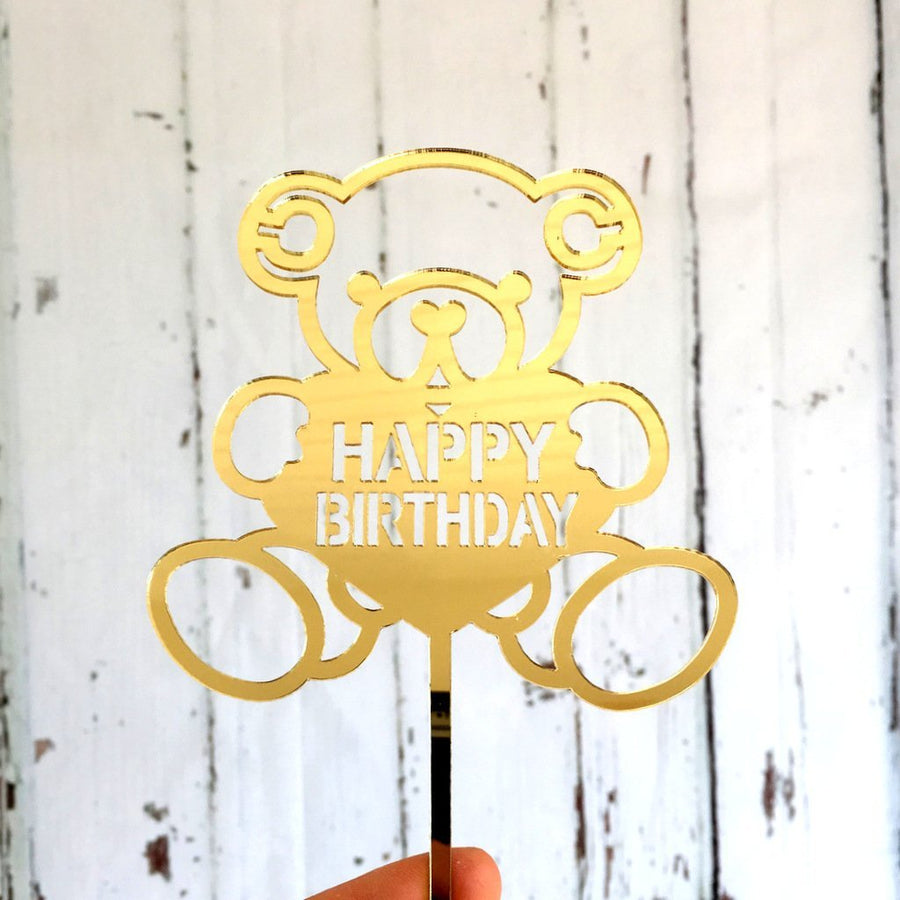 Acrylic Gold Mirror 'Happy Birthday' Teddy Bear Cake Topper - Online Party Supplies