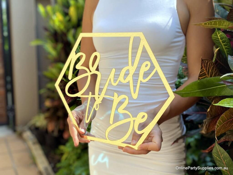 Online Party Supplies Australia acrylic gold mirror hexagon Bride To Be Bridal Hanging Wall Sign - Wedding Centrepiece Decorations
