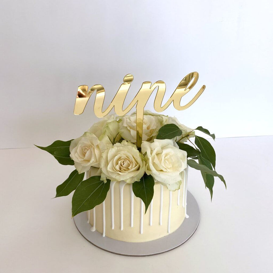 Acrylic Gold Mirror 'nine' Cake Topper
