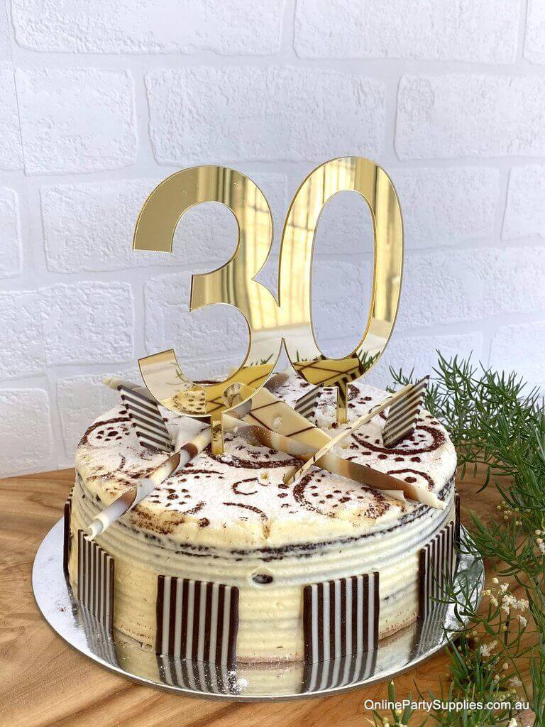 Acrylic Gold Mirror Number 30 Cake Topper - 30th Thirtieth Birthday Party Cake Decorations